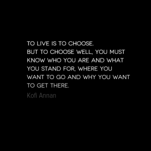 """To live is to choose.  But to choose well, you must know who you are and what you stand for, where you want to go and why you want to get there."" Kofi Annan"