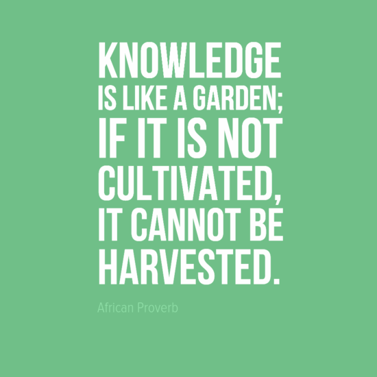 """Knowledge is like a garden; if it is not cultivated, it cannot be harvested."" African Proverb"