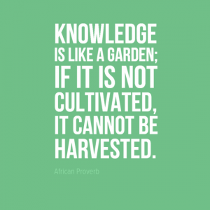 """""""Knowledge is like a garden; if it is not cultivated, it cannot be harvested."""" African Proverb"""