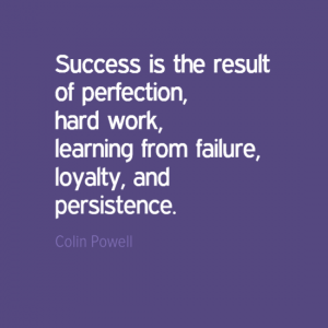 """Success is the result of perfection, hard work, learning from failure, loyalty, and persistence."" Colin Powell"